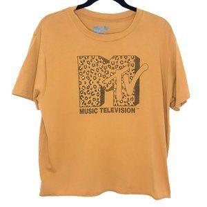 MTV Cropped Graphic Tee | Cheetah Print | XL